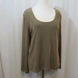 Coldwater Creek Brown White Slinky Knit Top S